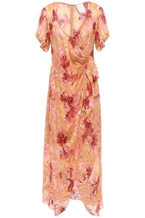 ANNA SUI Wrap-effect floral-print fil coupé silk-blend midi dress