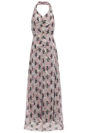 ANNA SUI Ruched printed fil coupé silk-blend halterneck gown