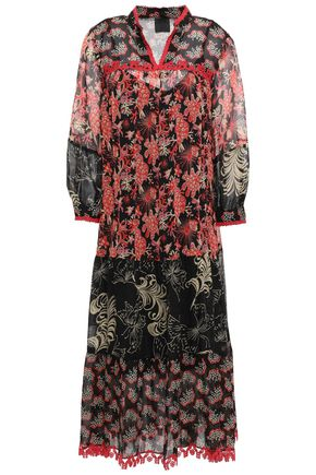 ANNA SUI Lace-trimmed printed silk-georgette midi dress