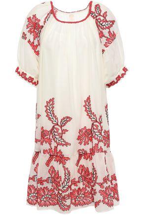 ANNA SUI Embroidered cotton-gauze mini dress