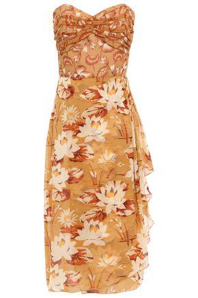 ANNA SUI Strapless silk-georgette dress