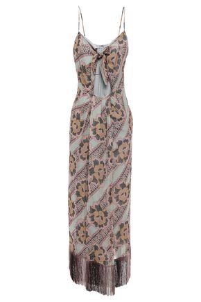 ANNA SUI Fringed cutout floral-print silk-georgette maxi dress