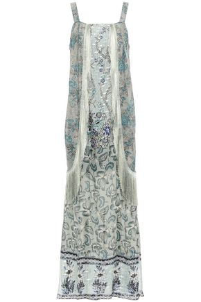 ANNA SUI Fringe-trimmed metallic printed fil coupé silk-blend maxi dress