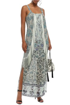 Anna Sui Woman Fringe-trimmed Metallic Printed Fil Coupé Silk-blend Maxi Dress Grey Green