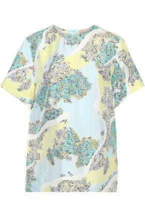 EMILIO PUCCI Floral-print silk-twill T-shirt