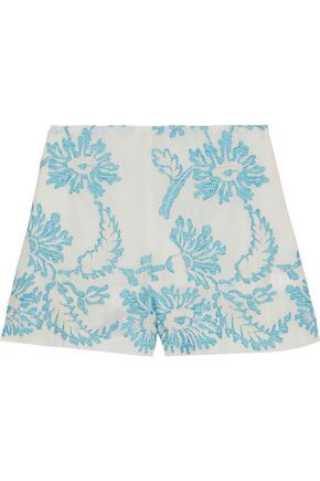 ANNA SUI Embroidered cotton-gauze shorts