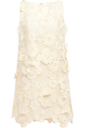 ANNA SUI Floral-appliquéd guipure lace mini dress