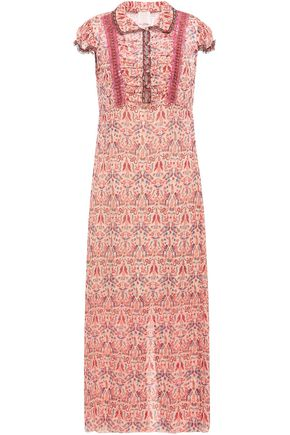 ANNA SUI Ruched metallic printed fil coupé chiffon maxi dress