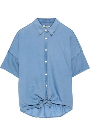 RAG & BONE Tie-front cotton-chambray shirt