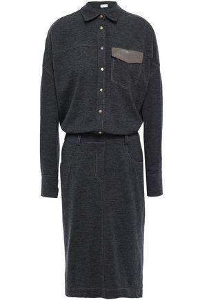 BRUNELLO CUCINELLI Bead-embellished wool-jersey shirt dress