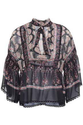 ANNA SUI Tie-neck printed chiffon peplum blouse