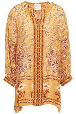 ANNA SUI Printed fil coupé silk-blend tunic