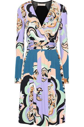 EMILIO PUCCI Paneled printed jersey wrap dress