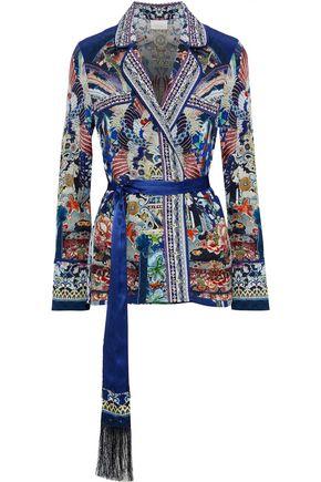 CAMILLA Belted crystal-embellished printed silk crepe de chine jacket