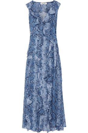 DIANE VON FURSTENBERG Lacey ruffled printed silk-georgette maxi wrap dress