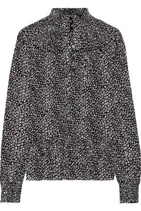 DIANE VON FURSTENBERG Shirred printed stretch-mesh top