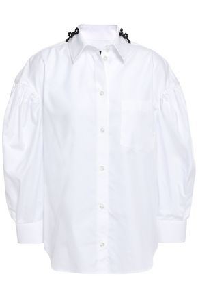 SIMONE ROCHA Bead-embellished cotton-poplin shirt