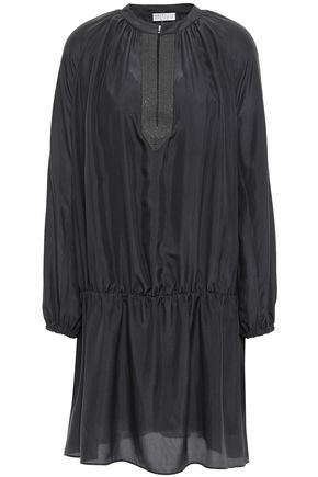 BRUNELLO CUCINELLI Bead-embellished silk mini dress