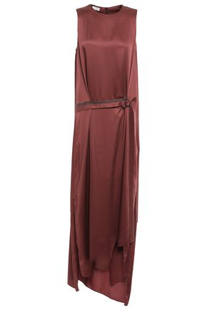 BRUNELLO CUCINELLI Belted draped bead-embellished satin gown