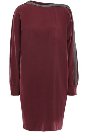 BRUNELLO CUCINELLI Bead-embellished French cotton-blend mini dress