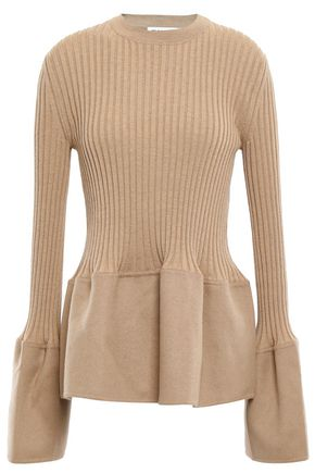 JIL SANDER Felt-paneled ribbed cashmere top