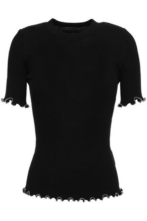 ALEXANDER WANG Ruffle-trimmed bead-embellished ribbed cotton top