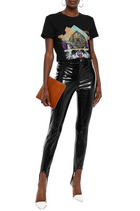 Just Cavalli Woman Embroidered Printed Cotton-Jersey T-Shirt Black