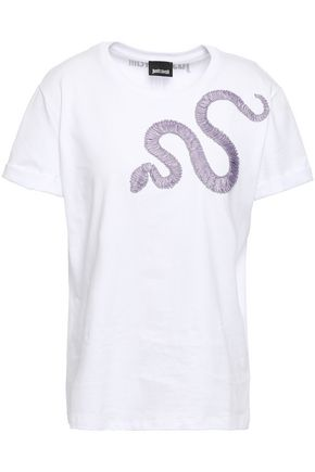 JUST CAVALLI Embroidered ribbon-trimmed cotton-jersey T-shirt