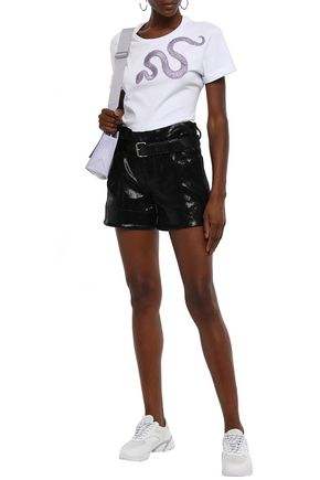 Just Cavalli Woman AppliquéD Cotton-Jersey T-Shirt White