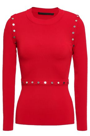 ALEXANDER WANG Convertible button-embellished stretch-knit top