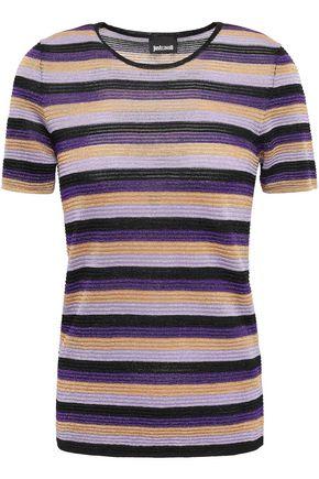 JUST CAVALLI Metallic striped ribbed-knit T-shirt