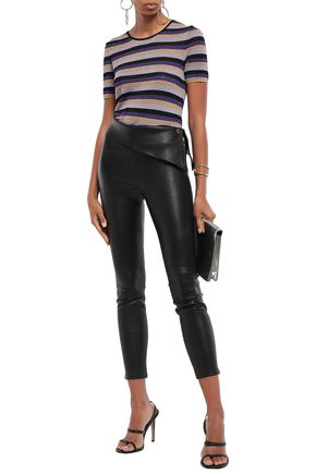 Just Cavalli Woman Metallic Striped Ribbed-Knit T-Shirt Violet