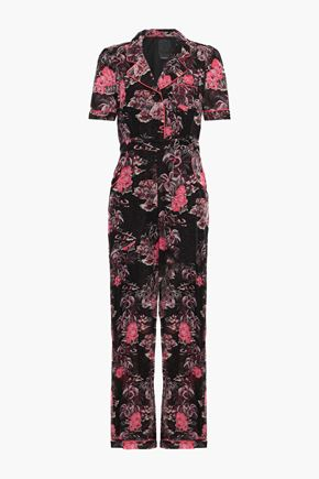 ANNA SUI Belted printed cotton and silk-blend jumpsuit