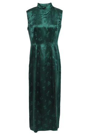 ANNA SUI Silk-satin jacquard midi dress