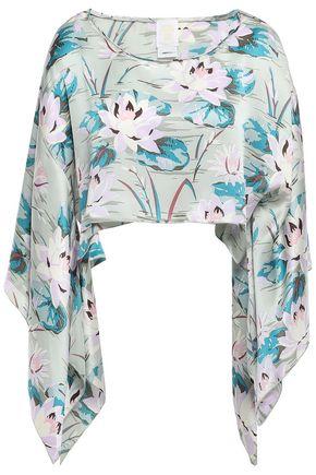 ANNA SUI Cropped draped floral-print silk-satin top