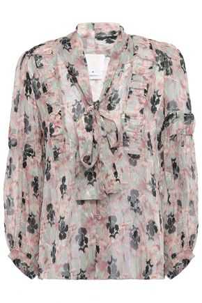 ANNA SUI Pussy-bow metallic floral-print fil coupé silk-blend blouse