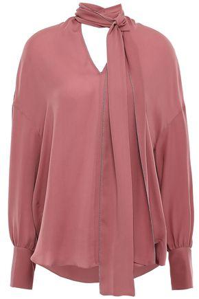 BRUNELLO CUCINELLI Tie-neck bead-embellished silk crepe de chine blouse
