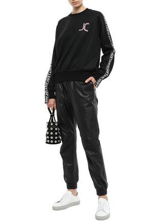 Just Cavalli Woman AppliquéD Jersey Sweatshirt Black