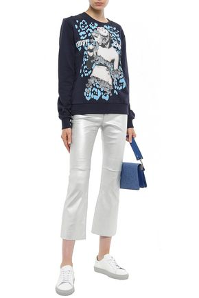 Just Cavalli Woman AppliquéD Printed French Cotton-Terry Sweatshirt Navy