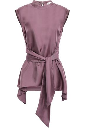 BRUNELLO CUCINELLI Tie-front silk-twill top
