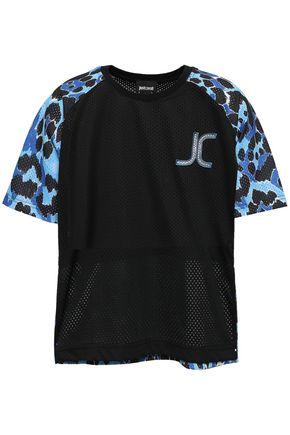 JUST CAVALLI Appliquéd printed mesh T-shirt