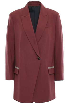 BRUNELLO CUCINELLI Bead-embellished stretch-wool blazer