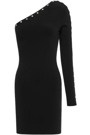 ALEXANDER WANG Studded one-shoulder stretch-knit mini dress