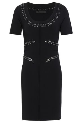 ALEXANDER WANG Embellished stretch-ponte mini dress