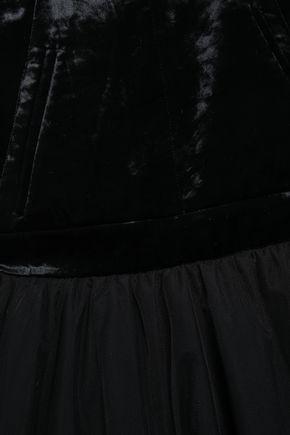 BRUNELLO CUCINELLI レイヤード ひび加工ベルベット&チュール ロングドレス