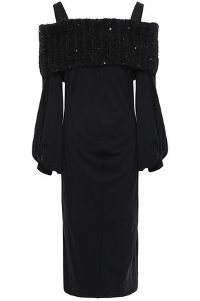 BRUNELLO CUCINELLI Cold-shoulder sequin-embellished wool-blend dress