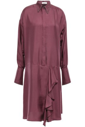 BRUNELLO CUCINELLI Draped bead-embellished silk-twill shirt dress