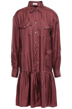 BRUNELLO CUCINELLI Bead-embellished gathered silk-twill mini shirt dress