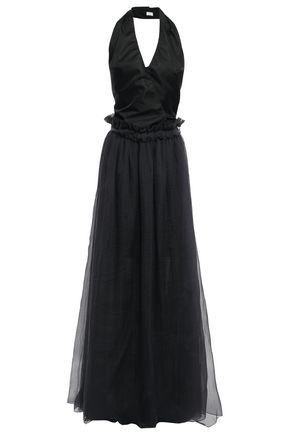 BRUNELLO CUCINELLI Wrap-effect cutout satin-paneled bead-embellished tulle gown