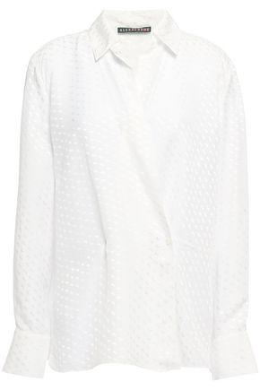 ALEXACHUNG Satin-jacquard wrap shirt